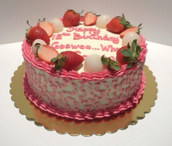 Strawberries and Lychee Cake