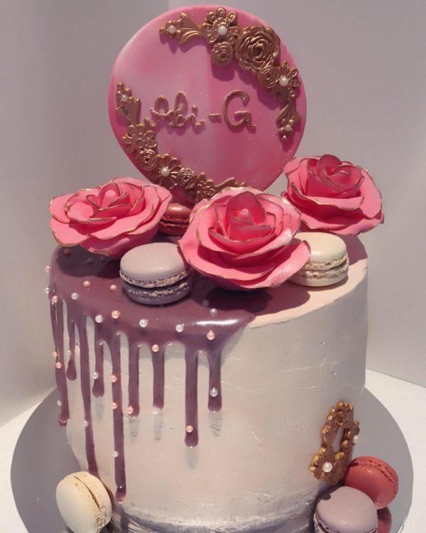 Elegant pink Birthday Cake
