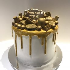 Golden drip birthday cake