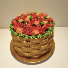 birthday cake of piped tulips in basket
